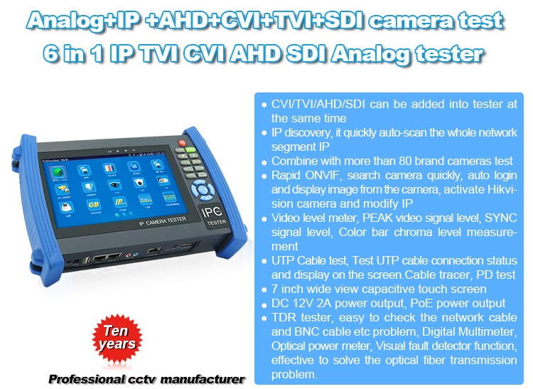 World leading cctv tester ,TVI CVI AHD SDI tester,tester monitor ,IP Analog camera tester manufacturer